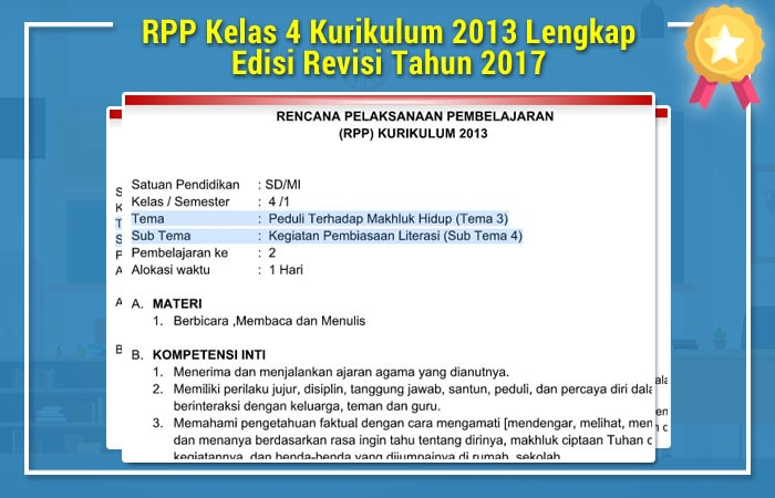 RPP Kelas 4 Kurikulum Tahun 2013 Lengkap Edisi Revisi Tahun Ajaran 2017