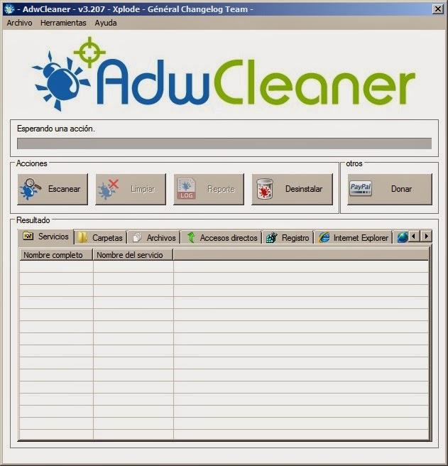 Pantalla inicio AdwCleaner