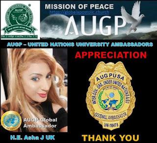 AUGP Ambassador H.E Aisha J UK