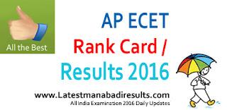 AP ECET Rank Card 2016 Download, AP ECET Results 2016, AP ECET 2016 Results