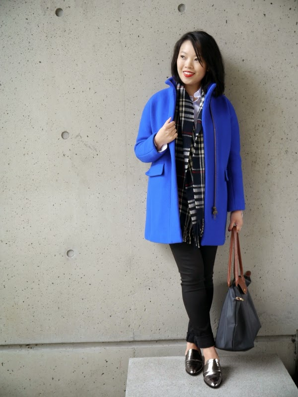 Brighten up a neutral fall/winter look with a tartan scarf and colourful coat