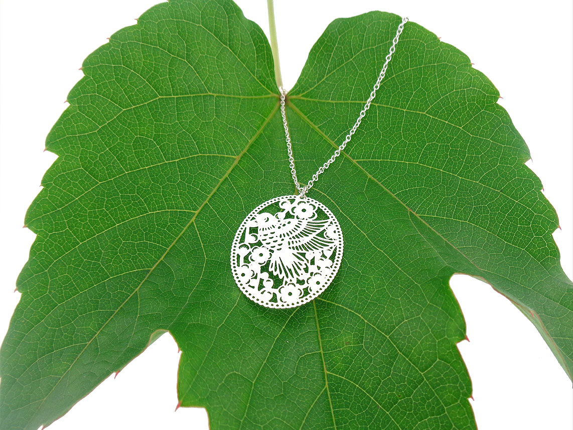 LAVISHY bird and flower filigree pendant necklace. Wholesale available at www.lavishy.com