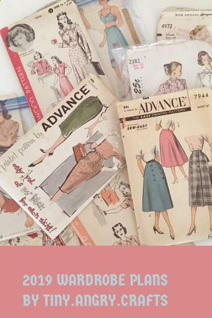 2019  wardrobe plans, vintage plans, vintage patterns, vintage clothing