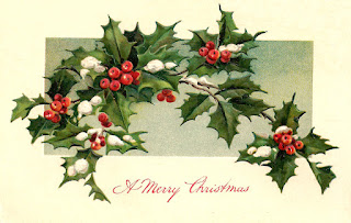 christmas holly greeting antique postcard digital image