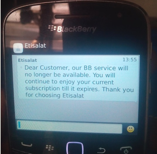 Etisalat Discontinues Blackberry Internet Services, MTN