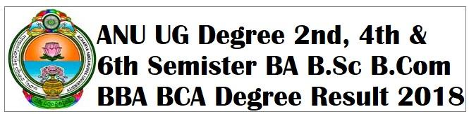 ANU UG Degree 2nd, 4th & 6th Semister Results 2018,Acharya Nagarjuna University BA B.Sc B.Com BBA BCA Degree Result 2018
