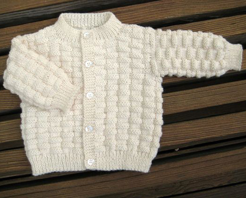 Basket Weave Baby Sweater - Free Pattern