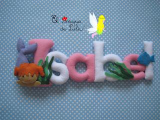 nombre-fieltro-felt-name-banner-elbosquedelulu-Isabel-regalo-personalizado-feltro-decoración-infantil-sirena-sirenita-peces