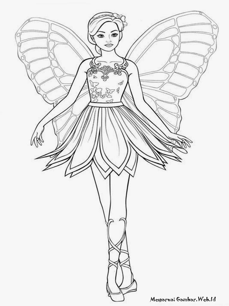 Mewarnai Gambar Barbie Mariposa  Mewarnai Gambar