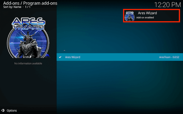 Kodi Ares Wizard was installed on your Kodi