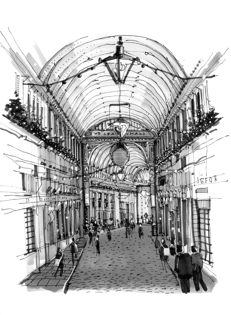 02-Leadenhall-Market-Phil-Dean-The-Shoreditch-Sketcher-Travelling-around-Europe-www-designstack-co