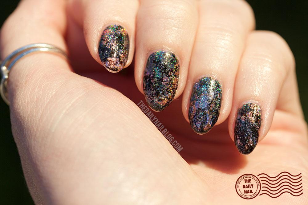 holo, nail art, the daily nail blog, water marble, sunlight, halo hues