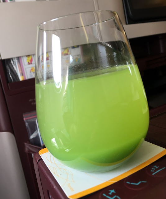 Glass of Jet Airways' welcome drink is freshly pressed green mango juice.