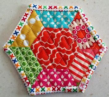 hexagon mug rug colorful
