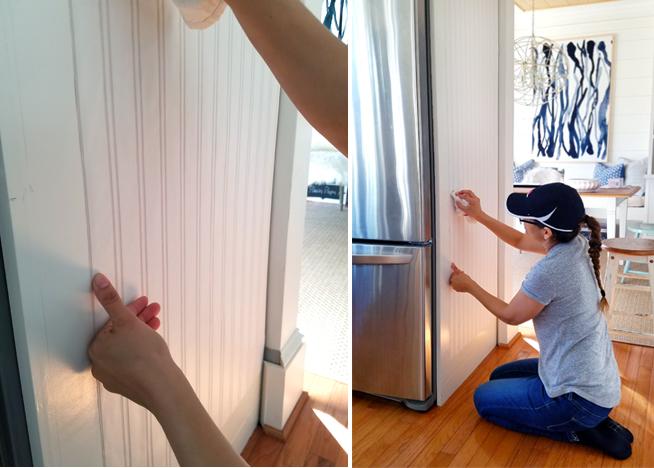 Cristina Garay hanging beadboard wallpaper on the side of fridge