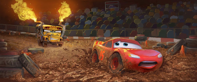 Concept Artwork of Miss Fritter chasing Lightning McQueen
