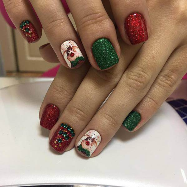 Red and Green,rebel flag nail art, for short nails