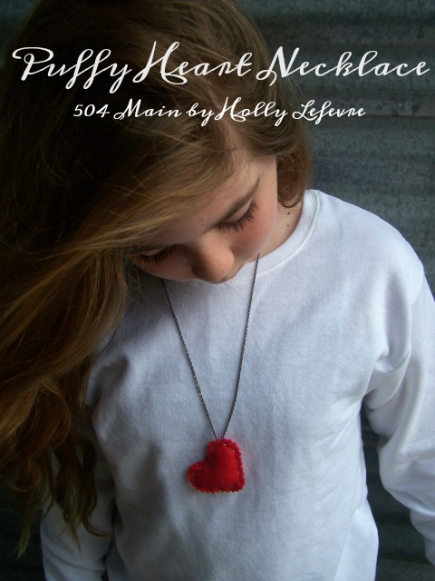 Use craft store felt hearts and a simple necklace for  a Valentines Day accessory
