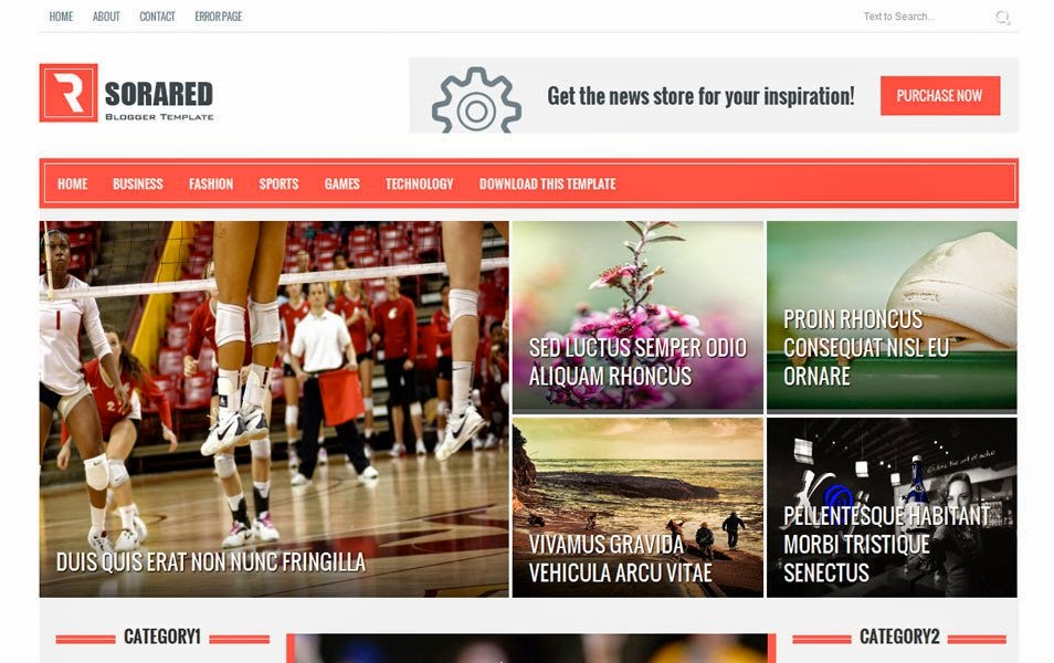 Template Blogger Versi Gratis Sora Red