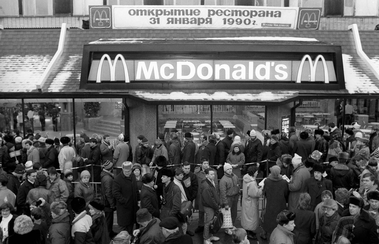 On January 31, 1990, the first Soviet McDonald's opened in Moscow. The first McDonald's ever in Soviet Union.