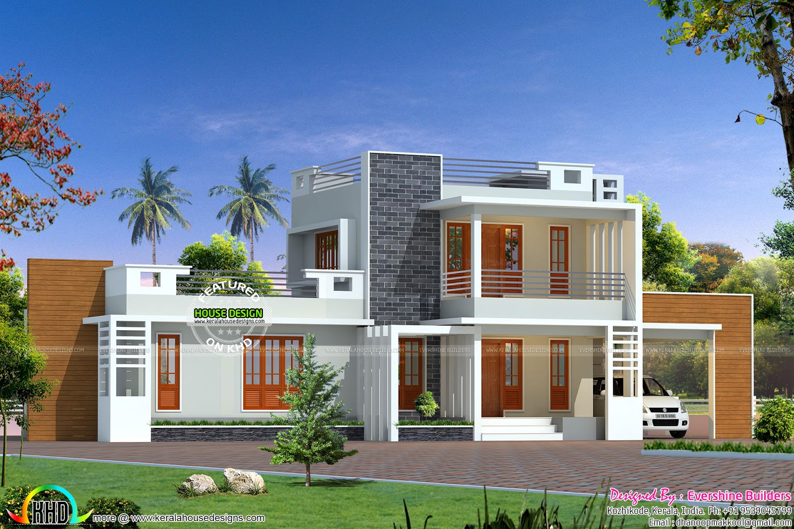 Contemporary home by evershine builders kerala home for Contemporary house builders