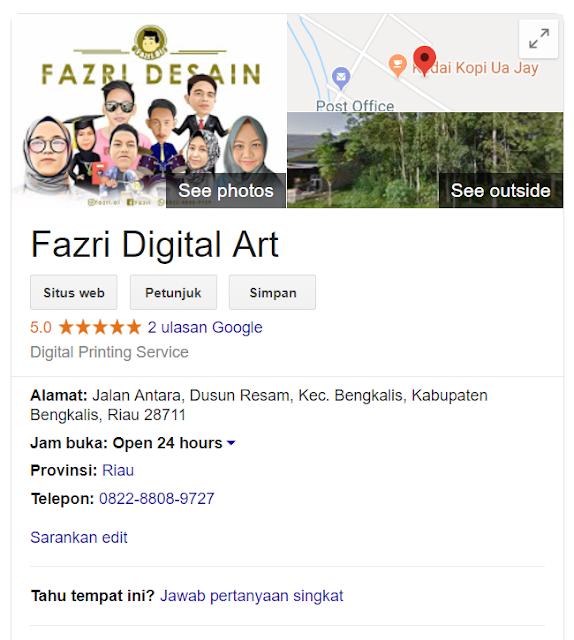 """Berawal dari melihat salah postingan Mas Fazri Nurfaris (teman kuliah Kang Arif) yang memiliki bakat dan keahlian di bidang desain grafis, Dimana ia memposting screenshoot Google My Business miliknya di status WhatsApp Yaitu """"Fazri Digital Art"""" (Silahkan di searching di google), barangkali ada yang tertarik untuk menggunakan jasanya. Nah, disinilah Kang Arif berpikir untuk mencoba berbagi tutorial Bagaimana Cara Membuat Google My Business."""
