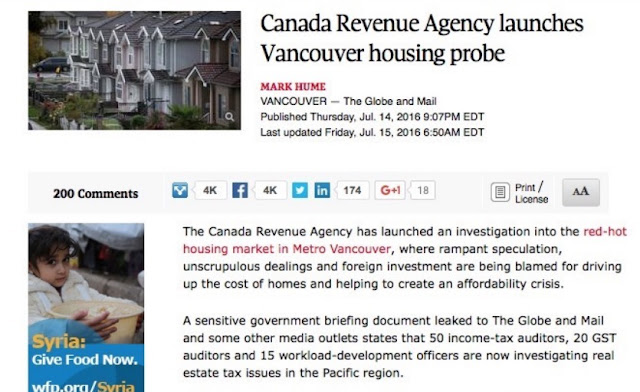CRA launches Vancouver housing probe - Globe and Mail July 14, 2016