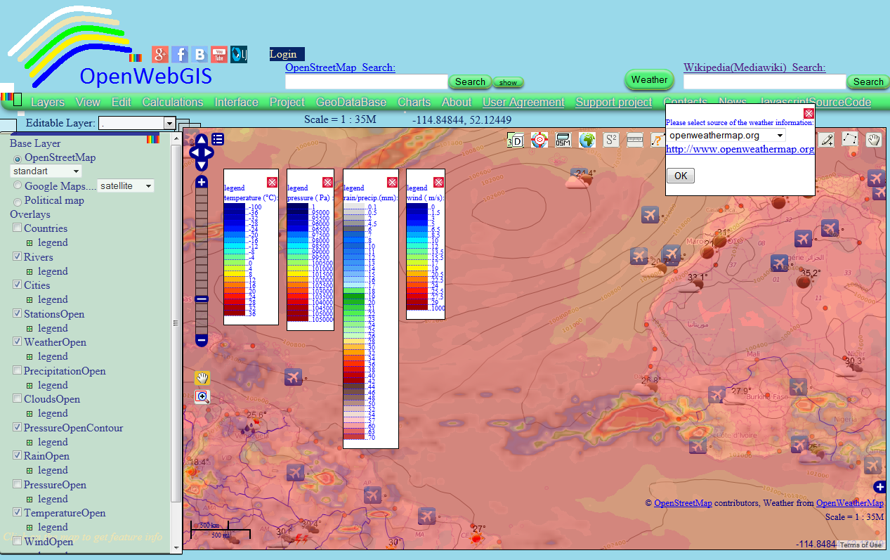 Openwebgis Is Free Online Gis Weather In Openwebgis