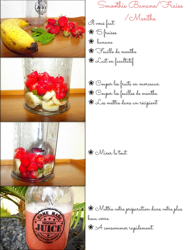 recette facile Smoothie Banane Fraise Menthe