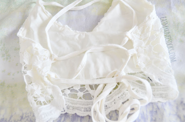 Details on the lace-up back crochet trim white halter crop top bralette from Dresslink.