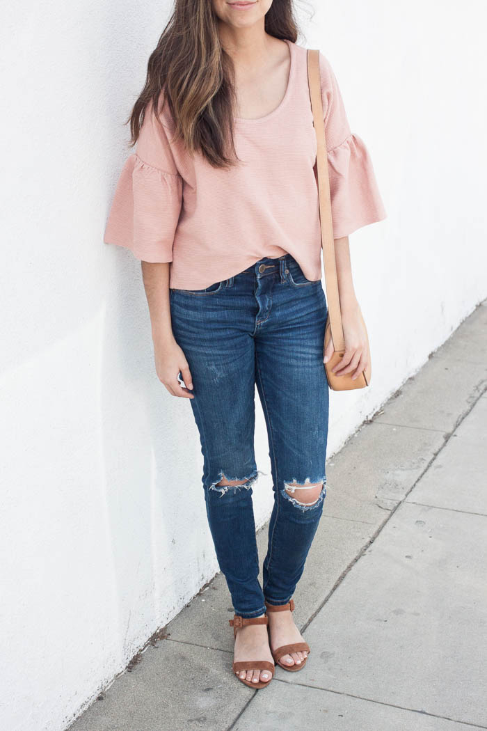 cute coral top with bell sleeves