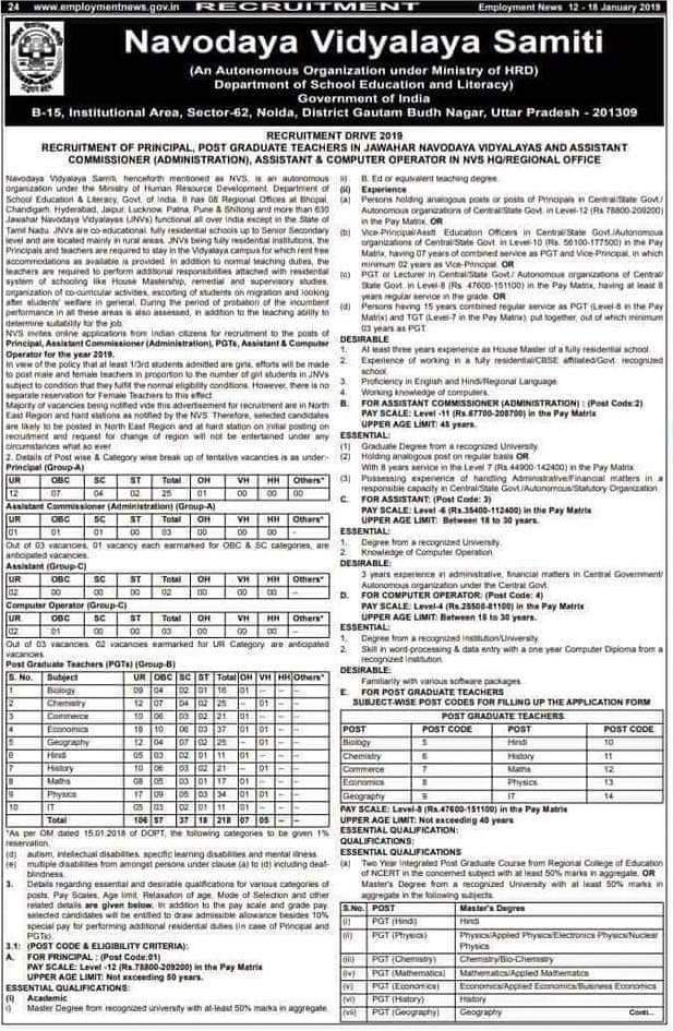image : NVS Teacher Recruitment 2019 for Principal & PGT Posts @ TeachMatters