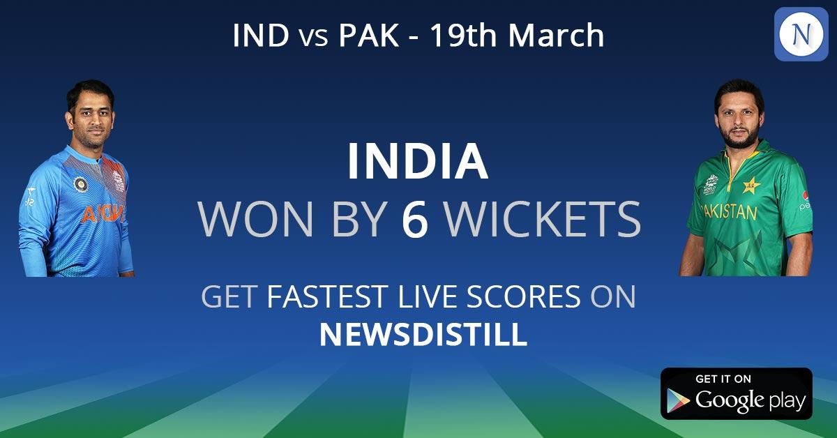 live cricket news today match: India vs Pakistan   India won
