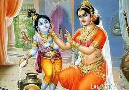 cute lord krishna image with yashoda mata