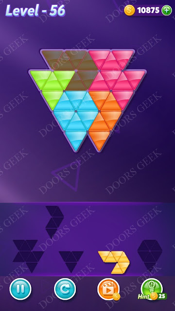 Block! Triangle Puzzle 5 Mania Level 56 Solution, Cheats, Walkthrough for Android, iPhone, iPad and iPod