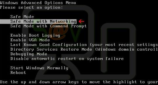 Modo seguro con funciones de red y luego pulsa Intro