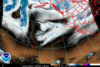 An atmospheric river over California. (Photo Credit: NOAA) Click to Enlarge.