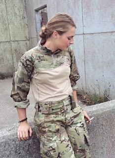 soldier girl smoking cigarette
