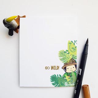 CAS card, masculine card, masking, Card for him, card for men, Quillish, card by ishani, jungle theme card, wild theme card, adventure card, little adventurer card