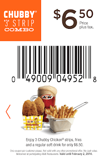 """A&W Coupons $6.50 Chubby """"3"""" Strip Combo"""