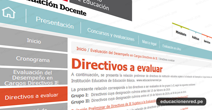 MINEDU: Lista de Directivos a Evaluar - Evaluación del Desempeño en Cargos Directivos de IE - www.minedu.gob.pe