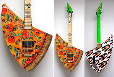 Guitarra eléctrica en forma de pizza