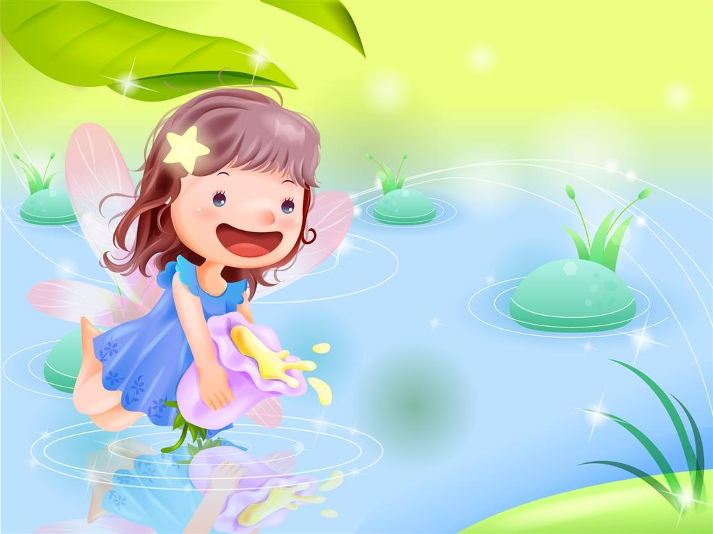 Beautiful Girl Full Screen Wallpaper Lightthem 可愛圖案 Cute Cartoon Wallpaper 03 童年卡通可愛桌布 03