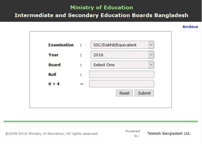 Bangladesh SSC Exam Result 2016 Published with mark sheet