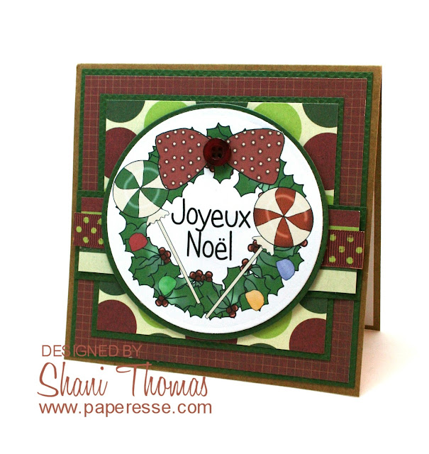 Candy Christmas Wreath card featuring Digi Web Studio Cheryl Seslar Sweet Wreaths topper, by Paperesse.