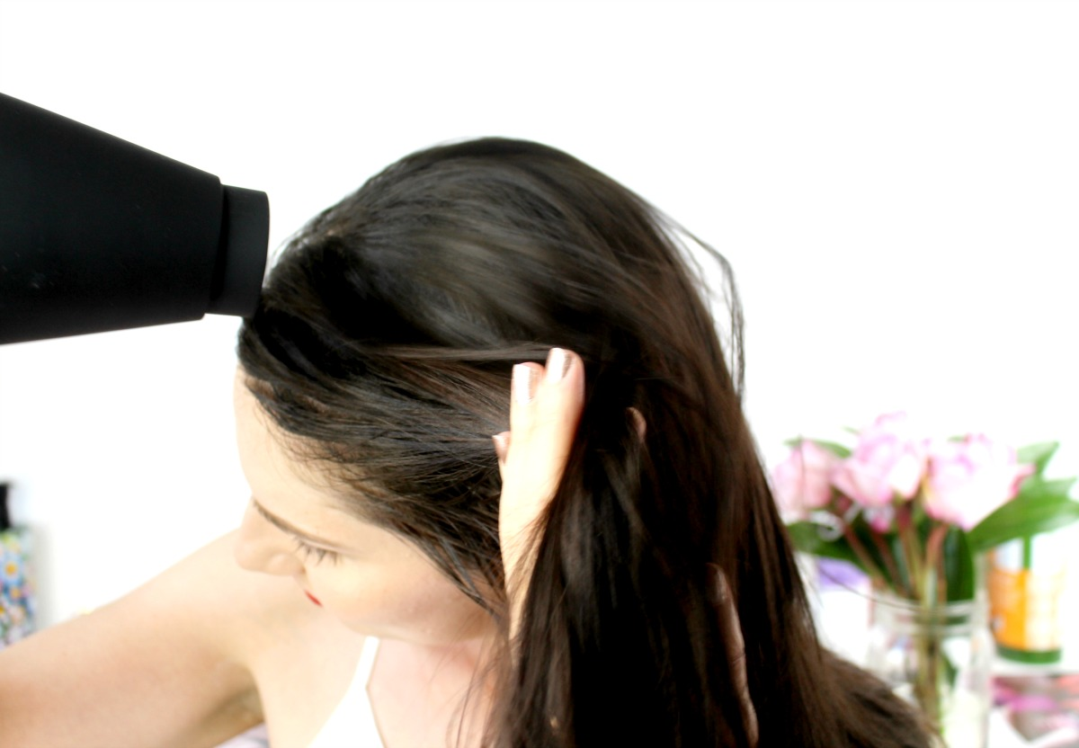 This is a close-up of my hair, with the Chi Onyx Euroshine Blowdryer being applied to it.