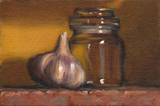 Still life oil painting of a garlic bulb beside a small glass jar.
