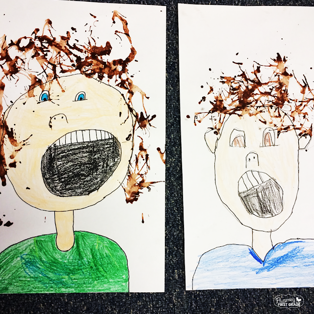 Weather activities for the primary classroom. Draw and paint a wind blown self-portrait.