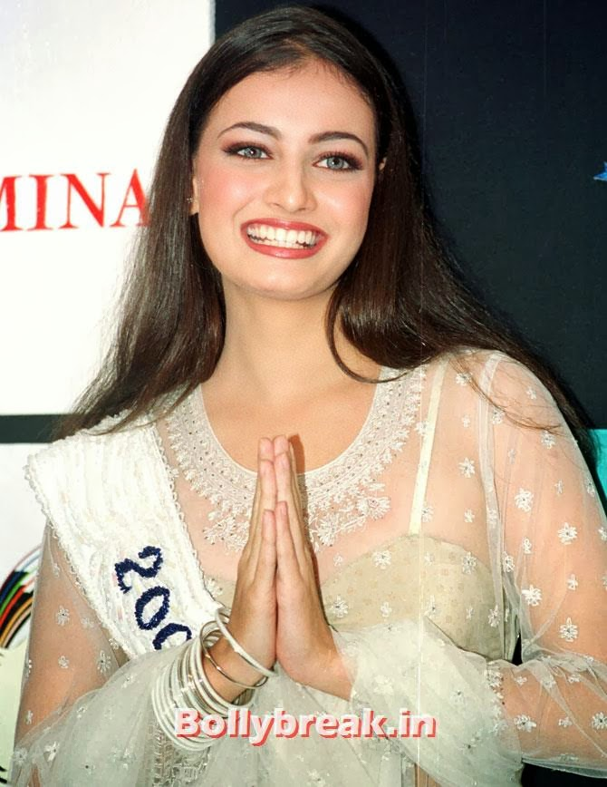 Diya Mirza, Miss Asia Pacific, folds her hands in traditional Indian style of greeting upon her arrival in the western Indian city of Bombay on December 14, 2000., Indian Women who have won Beauty Peagents across the World
