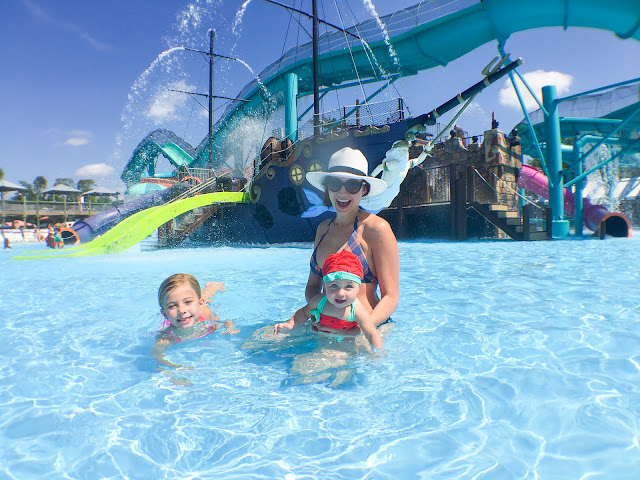 Amy West and daughter's splash in Pirate's Play Cove